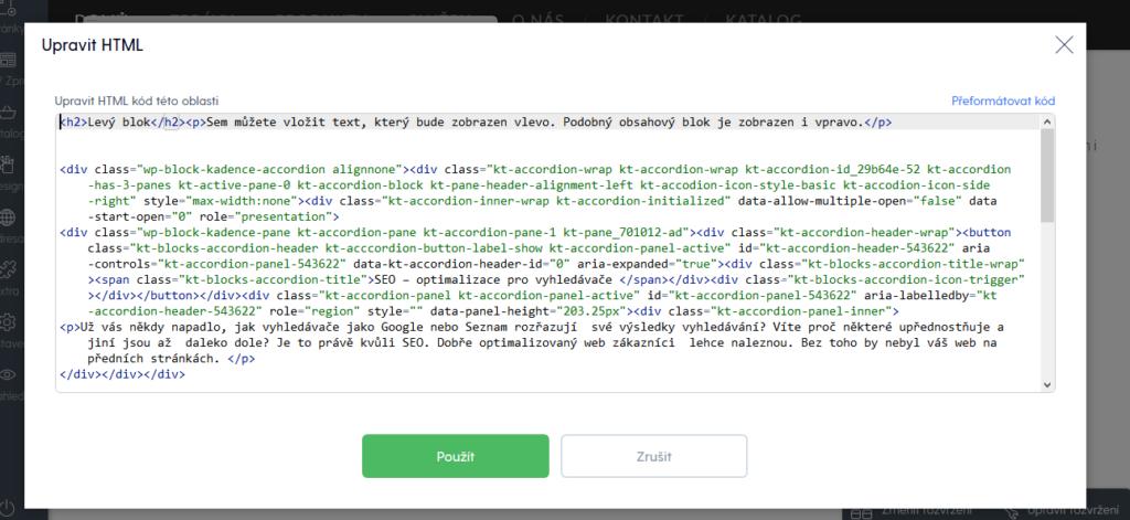 Mozello recenze vkládaní vlastního HTML