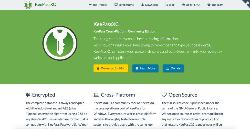 Password manager KeePassXC.org