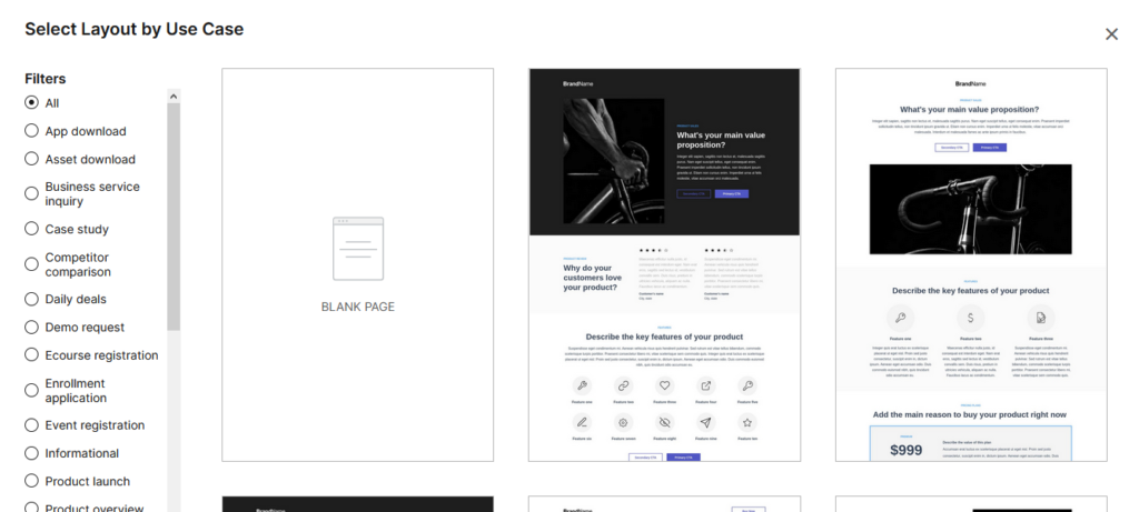 Instapage recenze vytvoření landing page výběr šablony