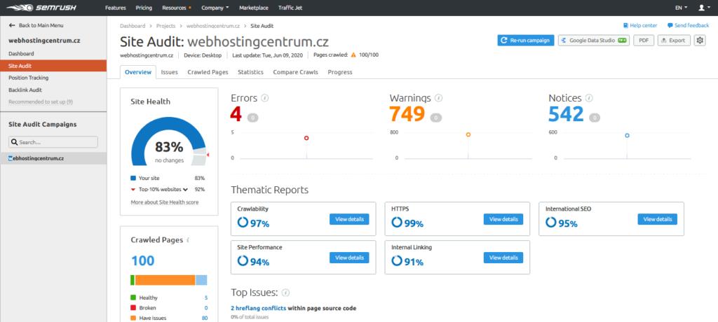 SEMrush recenze site audit