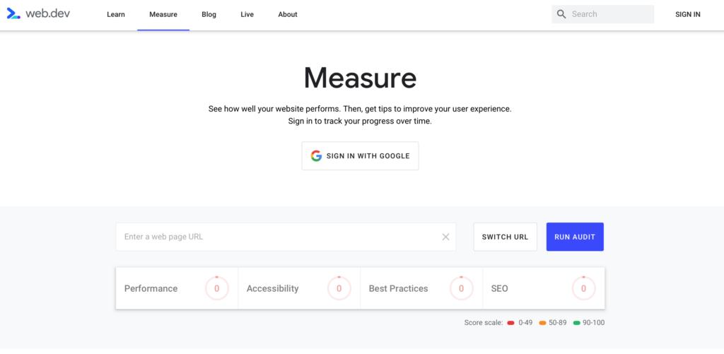 Web.dev nástroje pro webové vývojáře