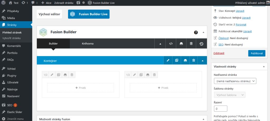 WordPress šablona Avada recenze Fusion Builder