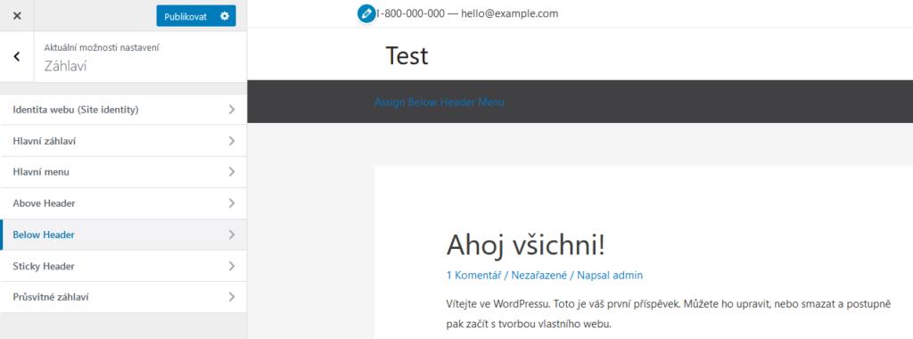 WordPress šablona Astra recenze záhlaví