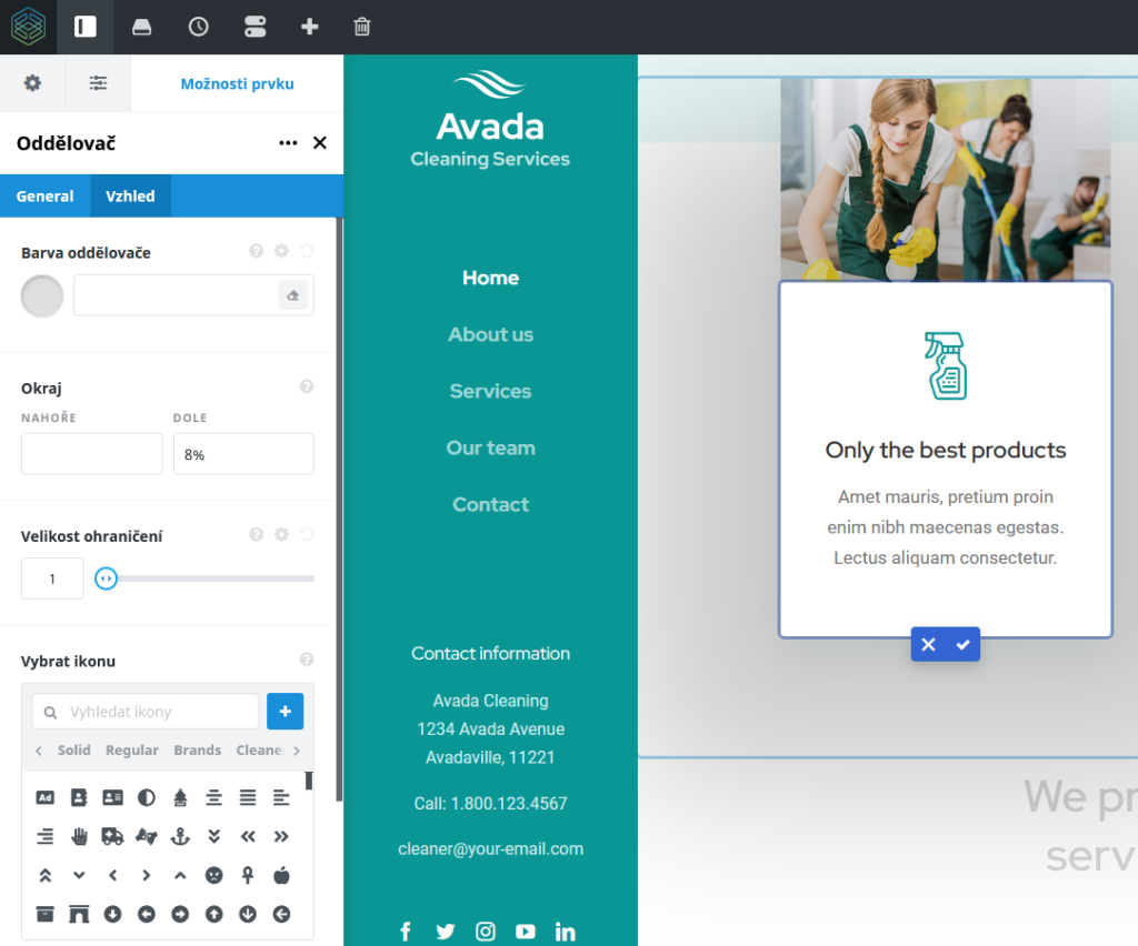 WordPress šablona Avada recenze Fusion Builder úprava