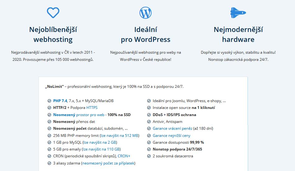 Wedos recenze webhosting Wedos NoLimit