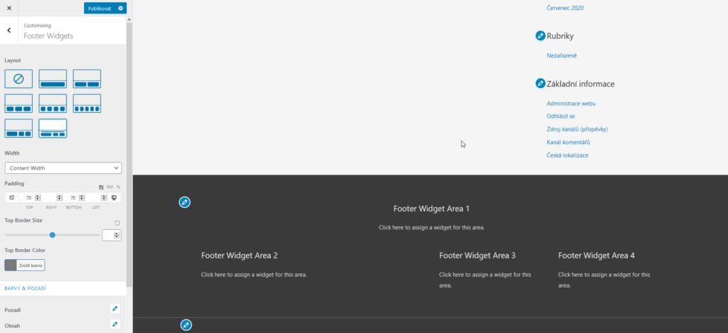 WordPress šablona Astra recenze rozvržení zápatí