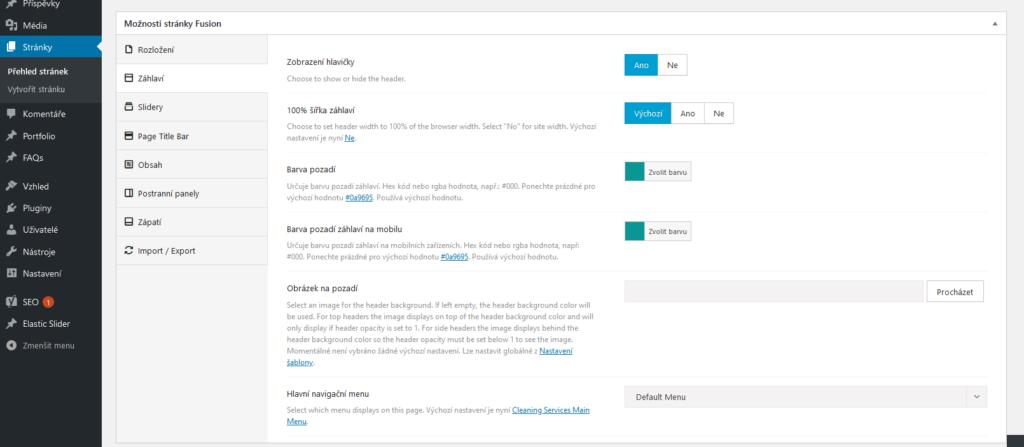 WordPress šablona Avada recenze Fusion page nastavení