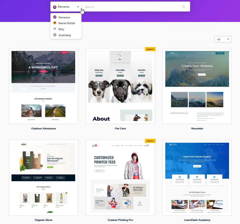 WordPress šablona Astra recenze starter templates