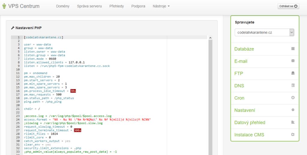 Váš Hosting recenze VPS nastavení PHP