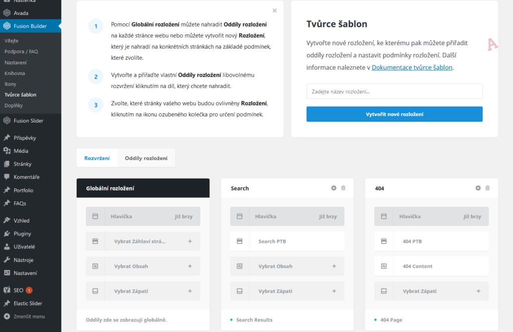 WordPress šablona Avada recenze theme builder nastavení