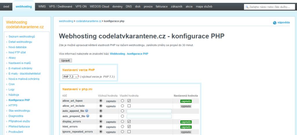 Wedos recenze zákaznická administrace konfigurace PHP