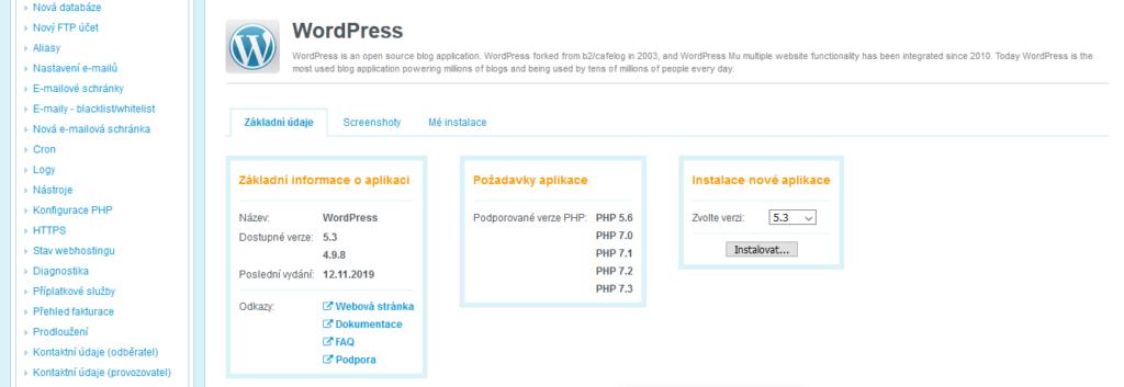 Wedos recenze instalace WordPress I.