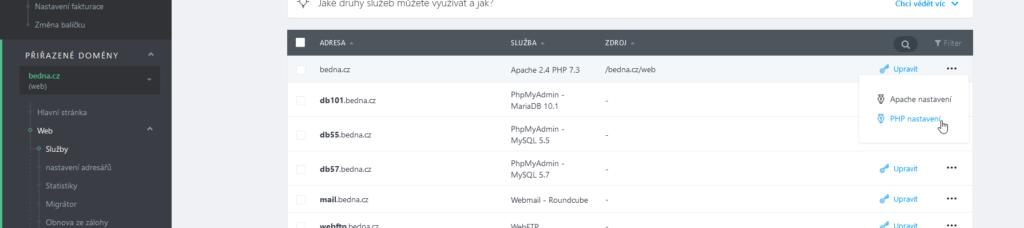WebSupport recenze webadmin nastavení PHP
