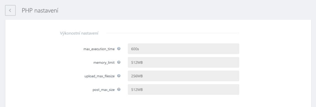 WebSupport recenze webadmin nastavení PHP výkon