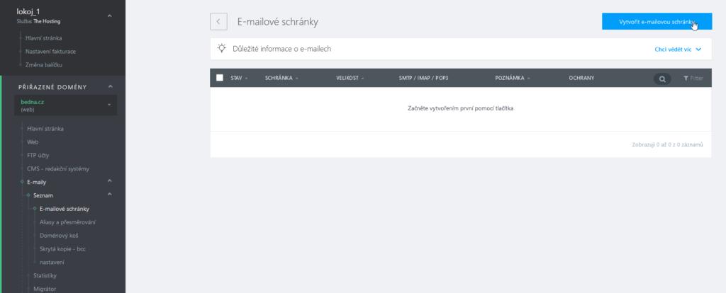 WebSupport recenze webadmin vytvoření emailové schránky