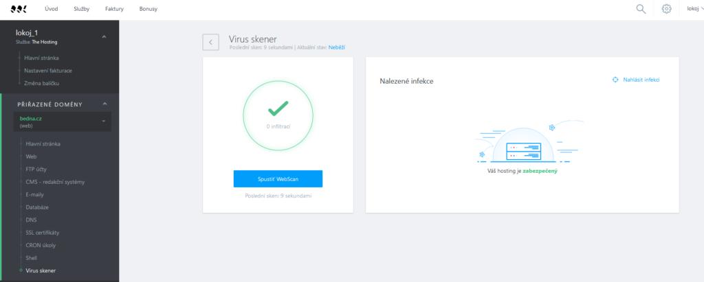 WebSupport recenze webadmin virus skener
