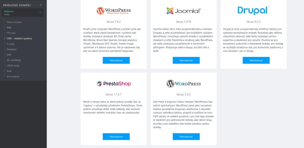 WebSupport recenze instalace WordPress I. krok