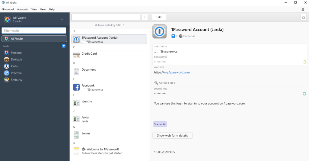 1Password recenze trezory vaults