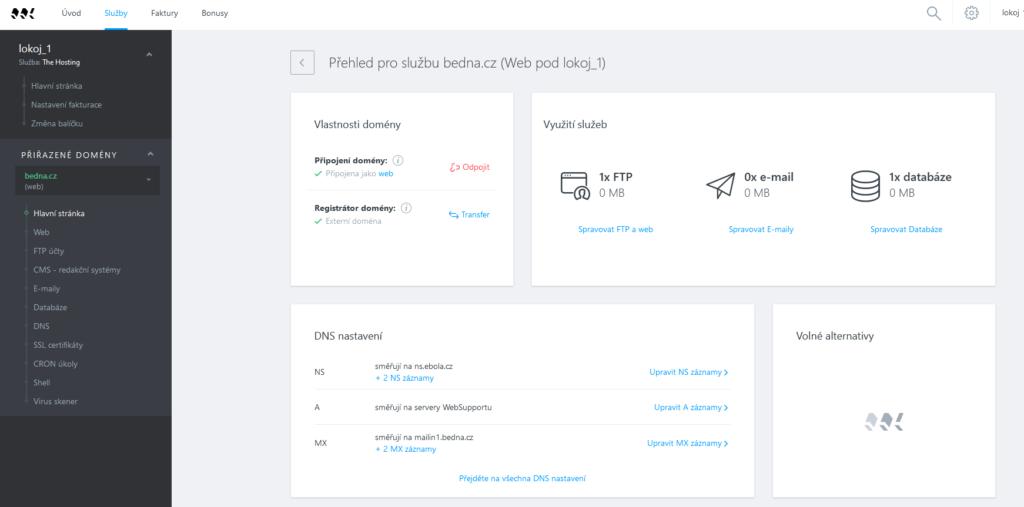 WebSupport recenze webadmin správa webů