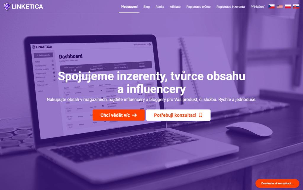 Linketica.cz platforma pro tvorbu obsahu pro webové stránky a sociální sítě