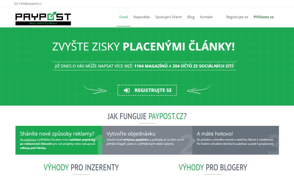 PayPost.cz platforma pro nákup placených článků a podčlánkové inzerce