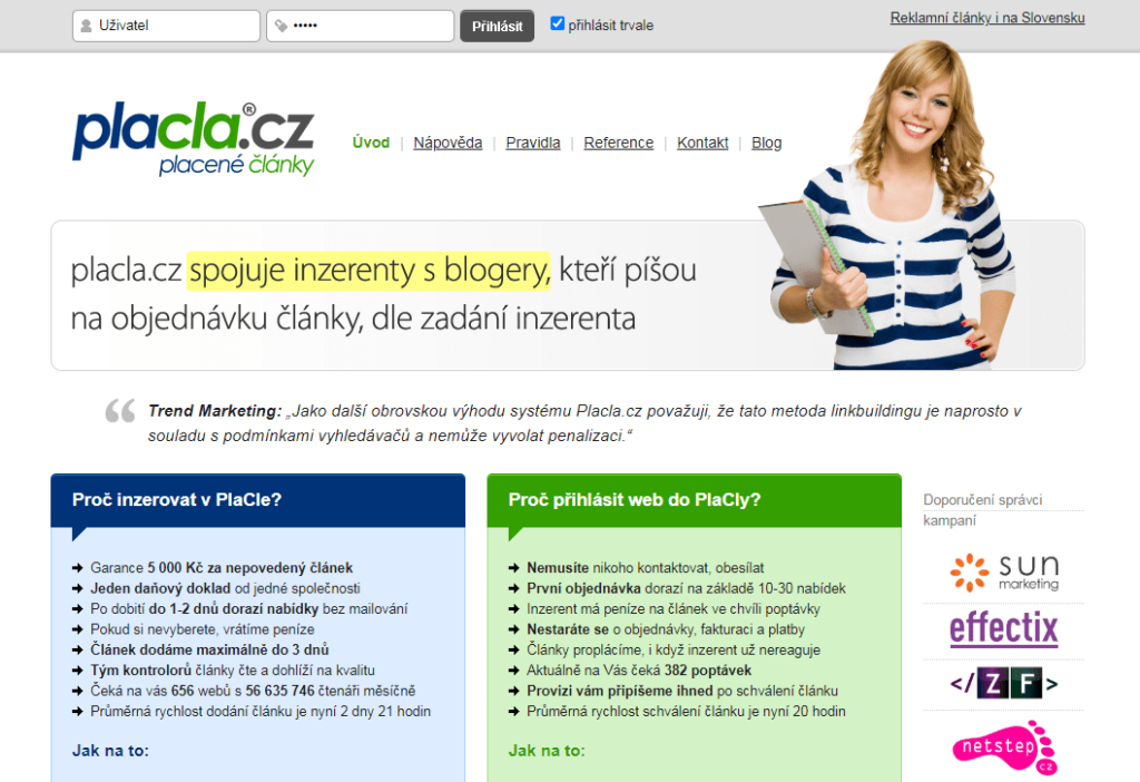 Placla.cz platforma pro nákup PR článků