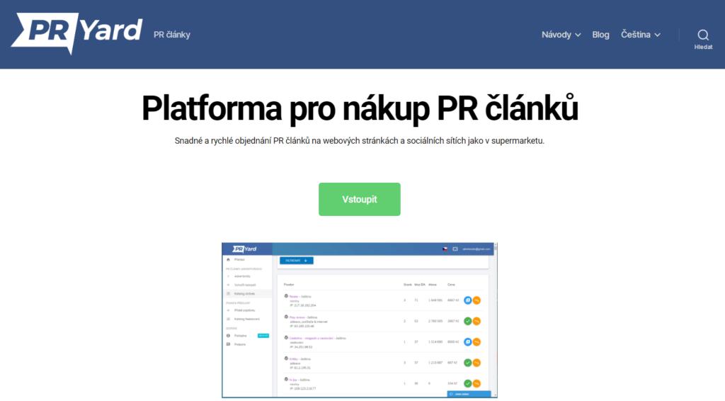PRYard.com platforma pro nákup PR článků