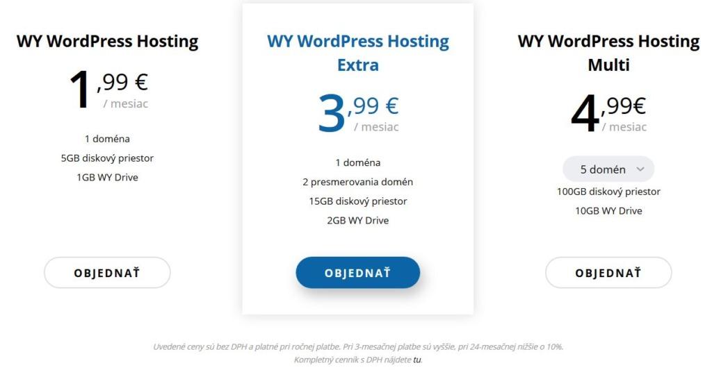 WY recenze WordPress webhosting ceny balíků