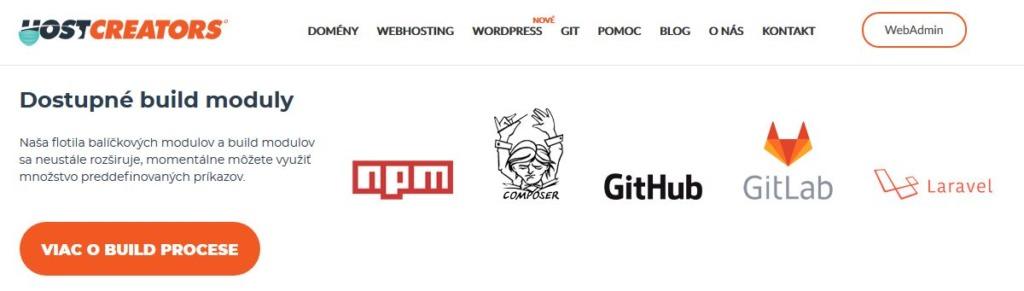 HostCreators recenze dostupní build moduly