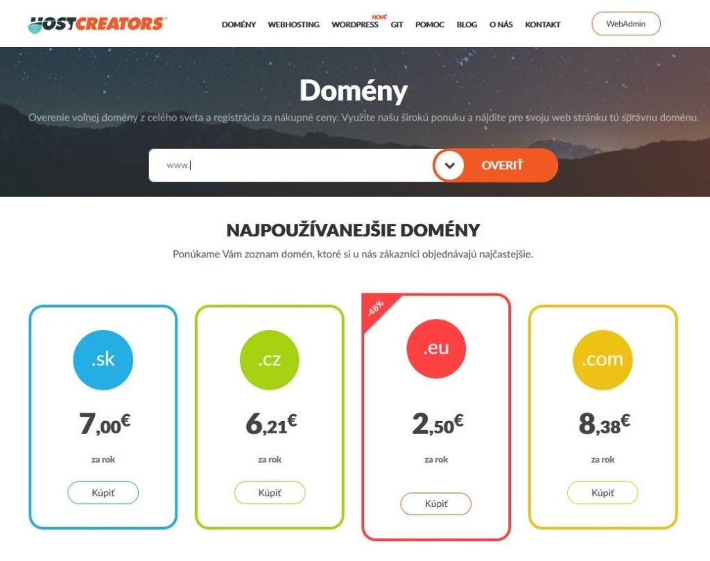 Recenze HostCreators registrace domény
