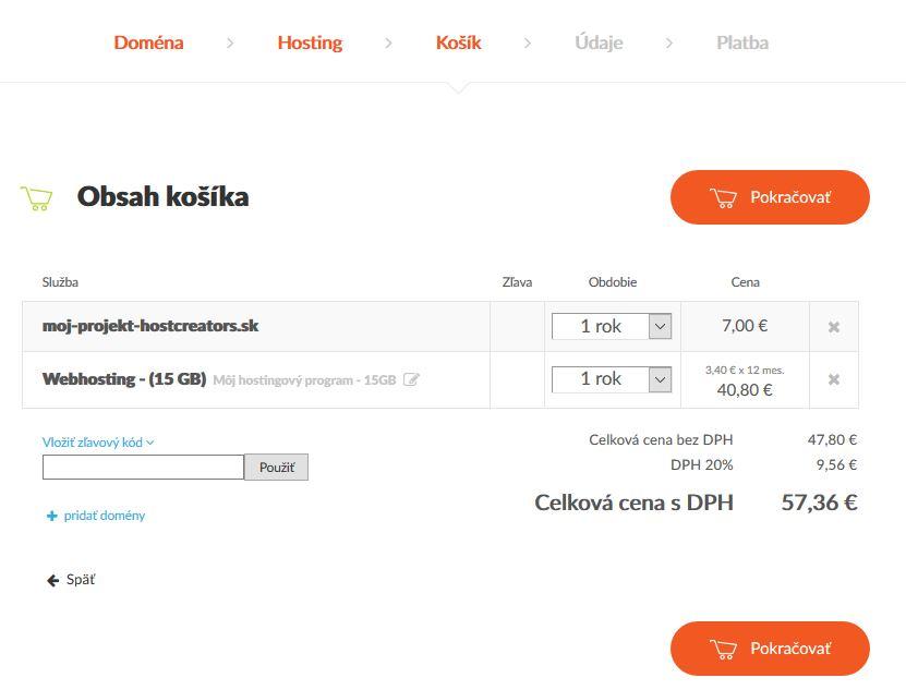 Receznia HostCreators webhosting košík