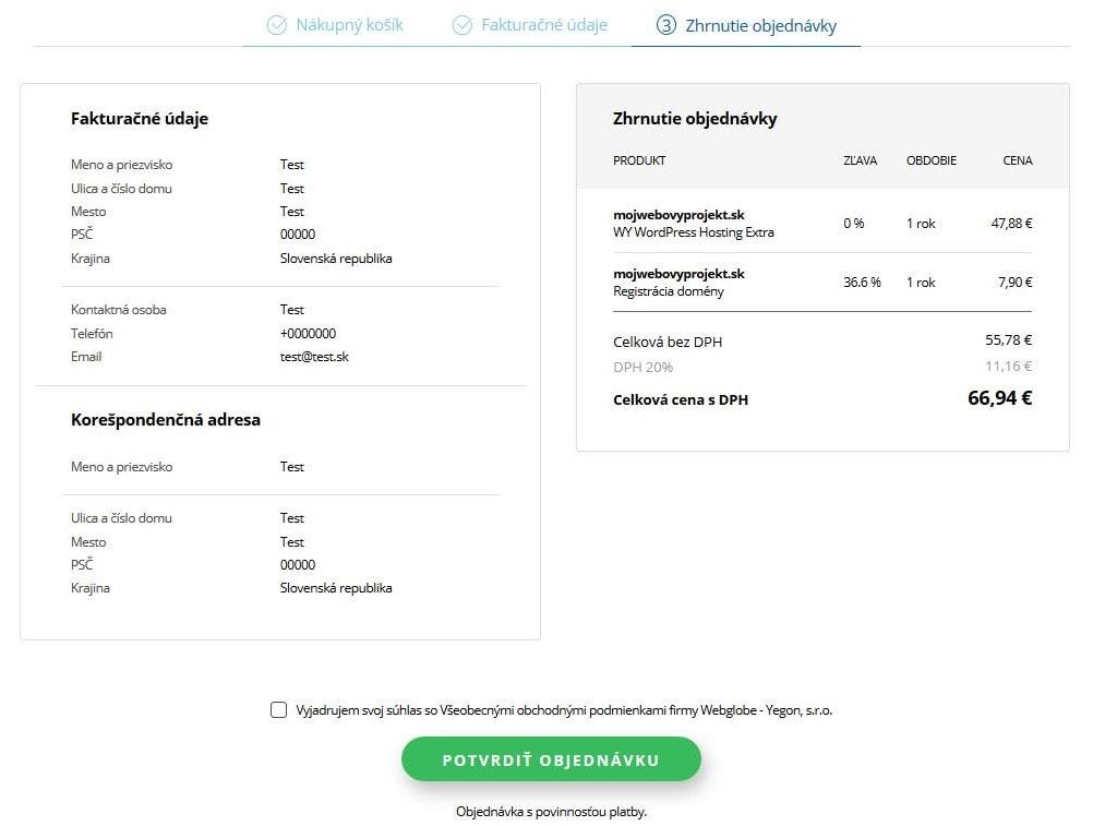 Webglobe-Yegon recenze objednávka WordPress hostingu IV.