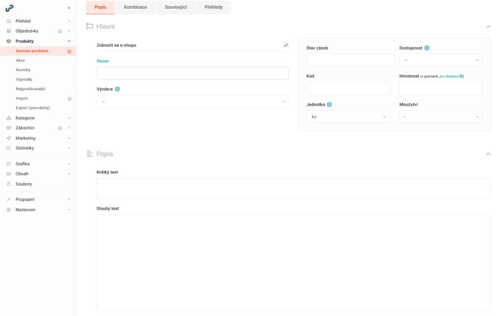 UpGates recenze založení e-shopu přidání produktu I.