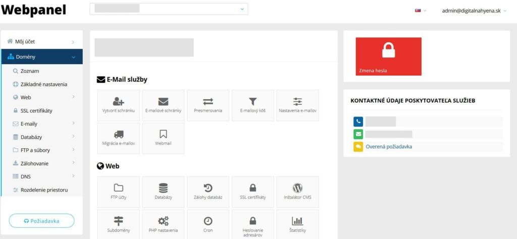 Recenze WY administrační rozhraní WebPanel