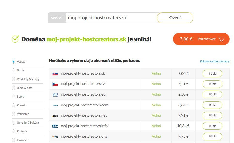 Recenze HostCreators WordPress hosting výběr domény