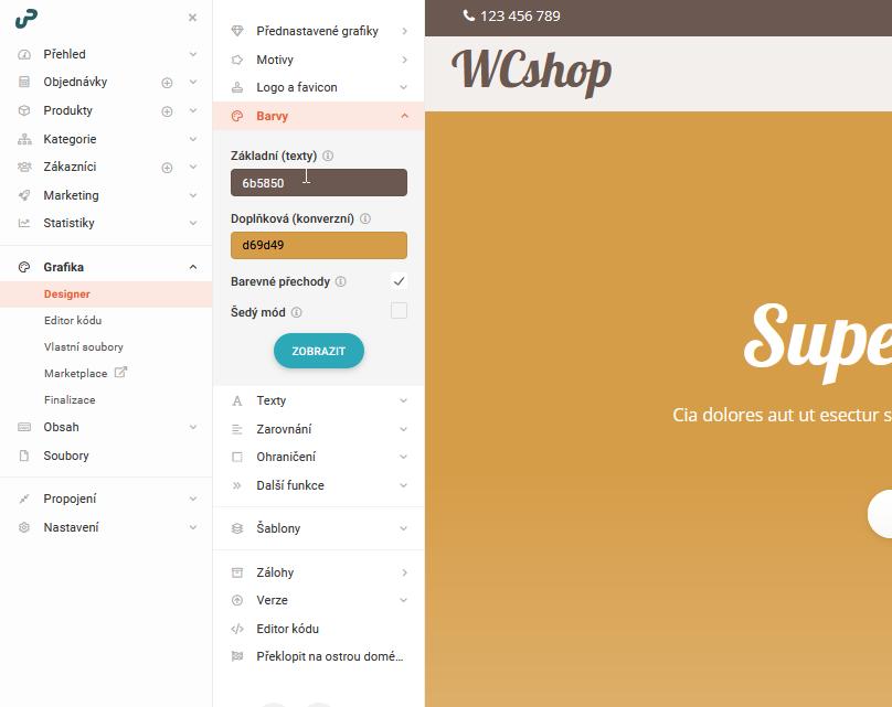 UpGates recenze založení e-shopu změna vzhledu