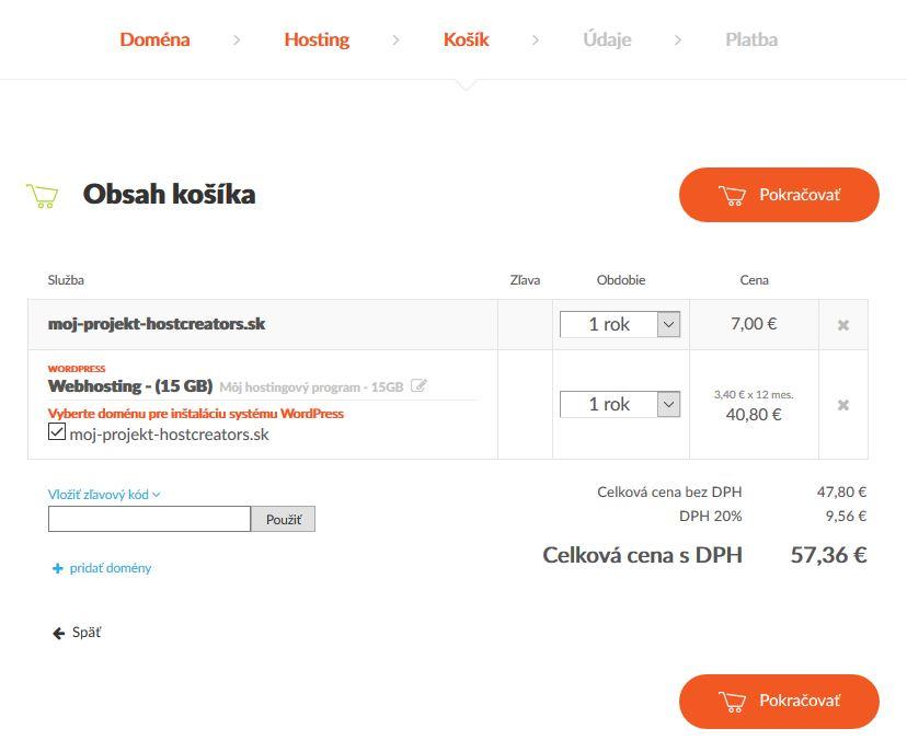 HostCreators recenze WordPress hosting košík