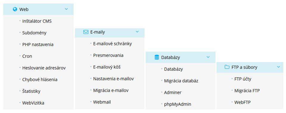 Recenze WY WebPanel navigační menu