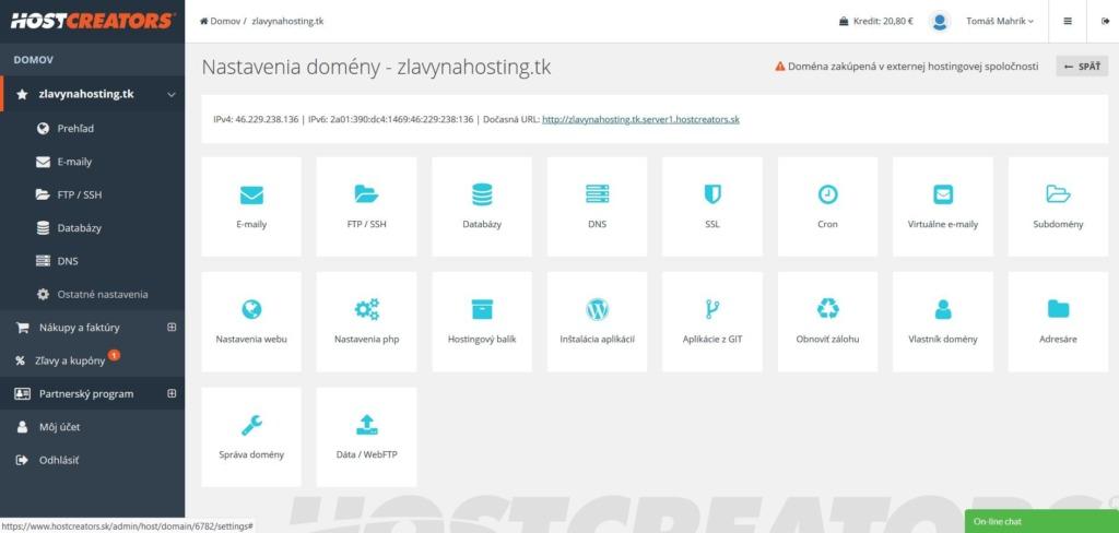 Recenze HostCreators administrační rozhraní