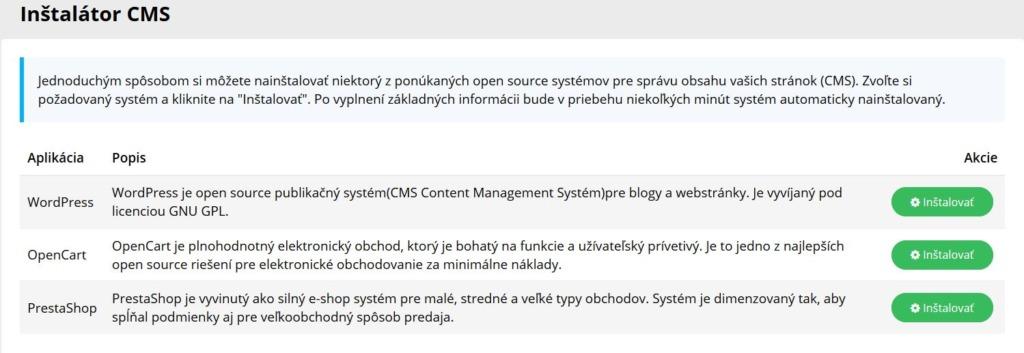 WY recenze WebPanel instalátor CMS