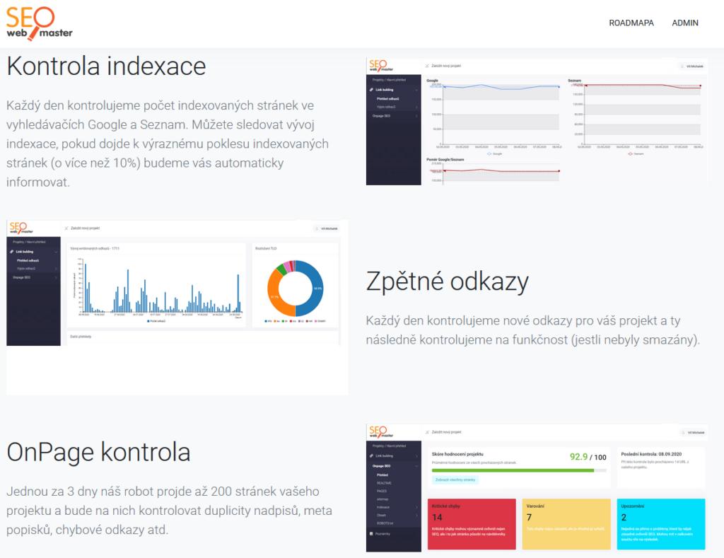 SEOwebmaster recenze - funkce nástroje