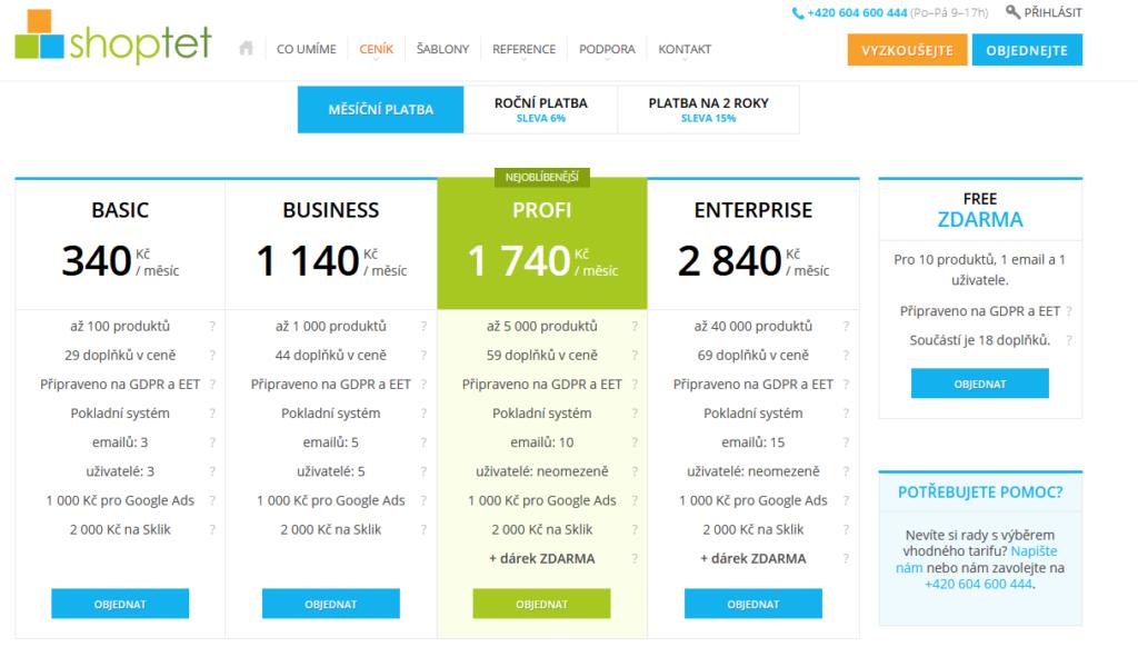 Shoptet vs. Shopify - porovnání parametrů a cen