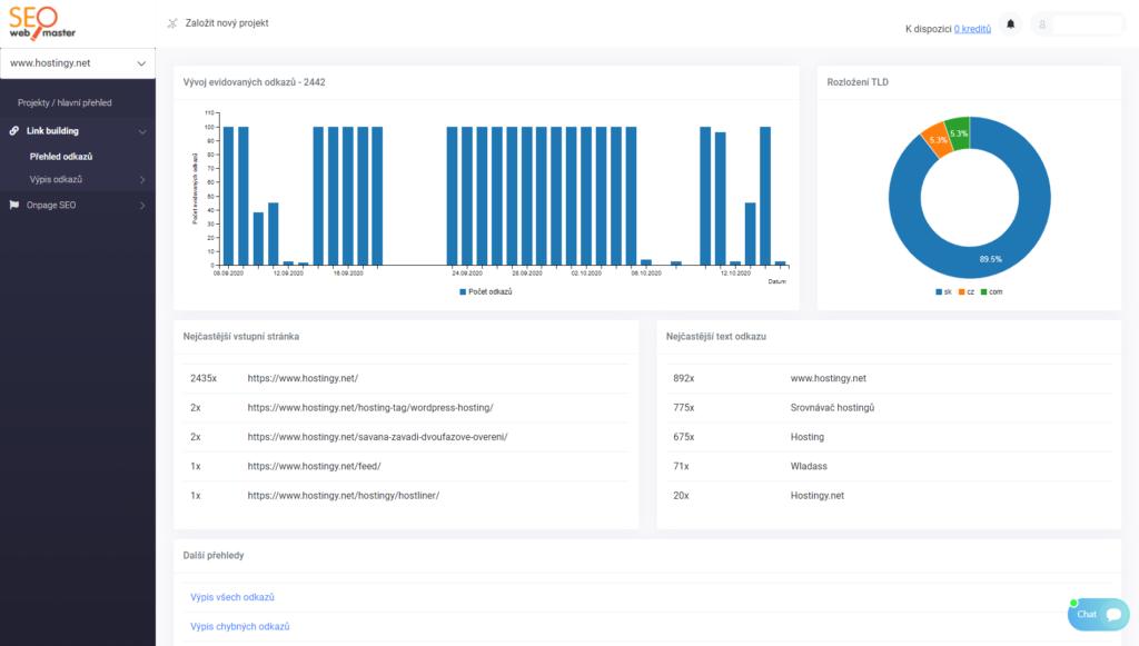 SEOwebmaster recenze - kontrola zpětných odkazů