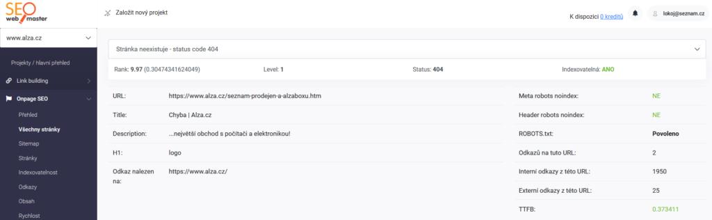 SEOwebmaster recenze - sledování status kódů