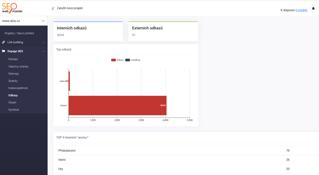 SEOwebmaster recenze - kontrola interních odkazů