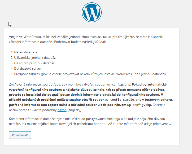 Recenze Webhosting C4 postup instalace WordPress