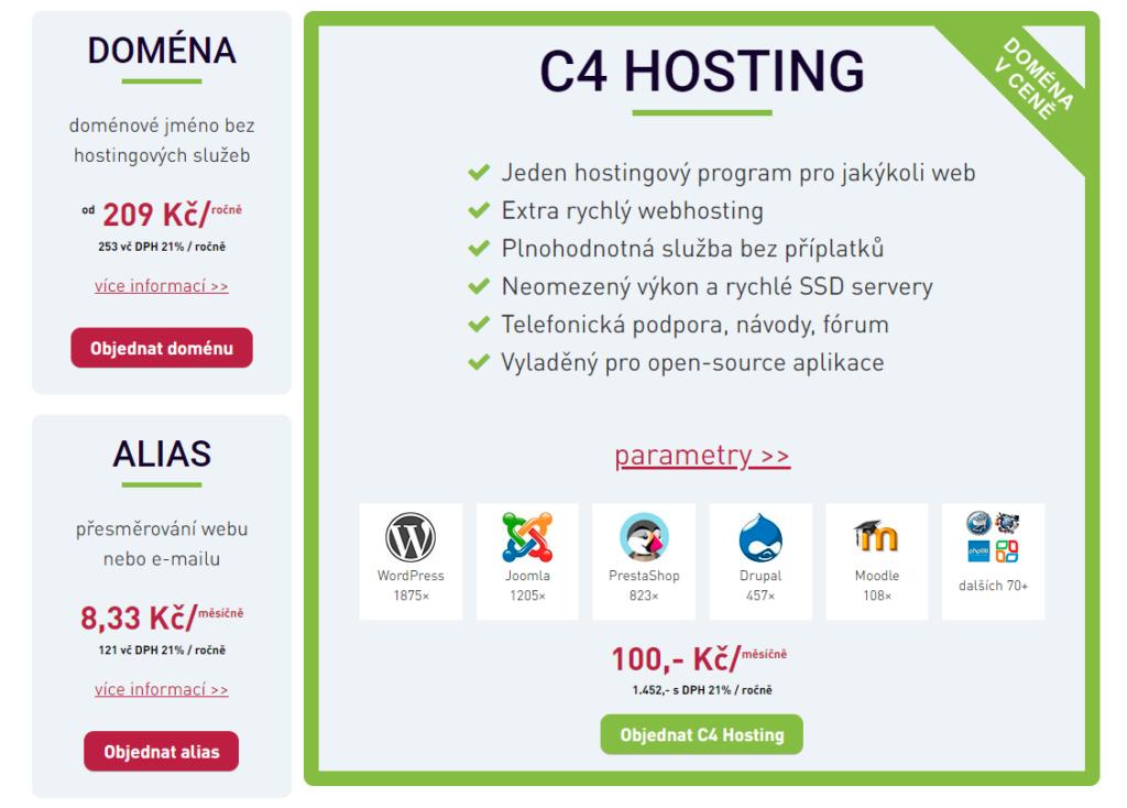 Webhosting C4 ceník služeb a hostingu