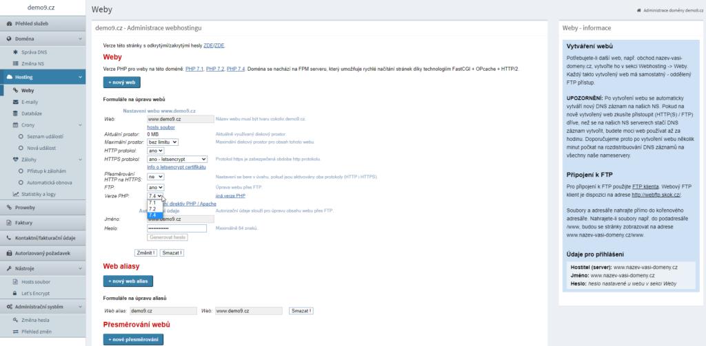Hosting C4 administrace a nastavení webu