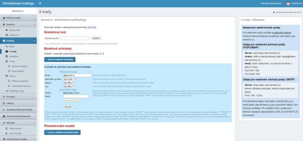 Recenze Hosting C4 Vytvoření e-mailové schránky