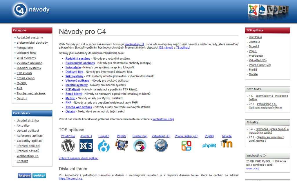 Webhosting C4 instalace open source aplikací